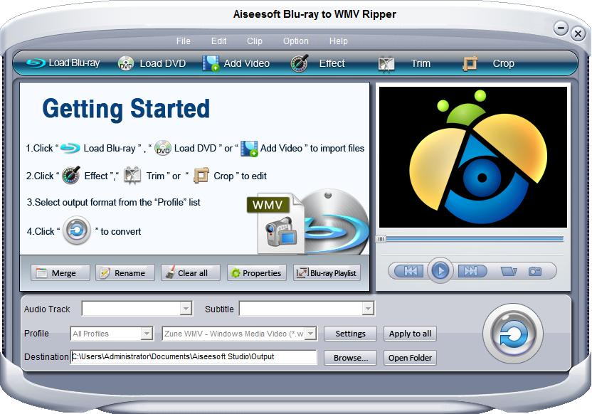 Aiseesoft Blu-ray to WMV Ripper Screen shot