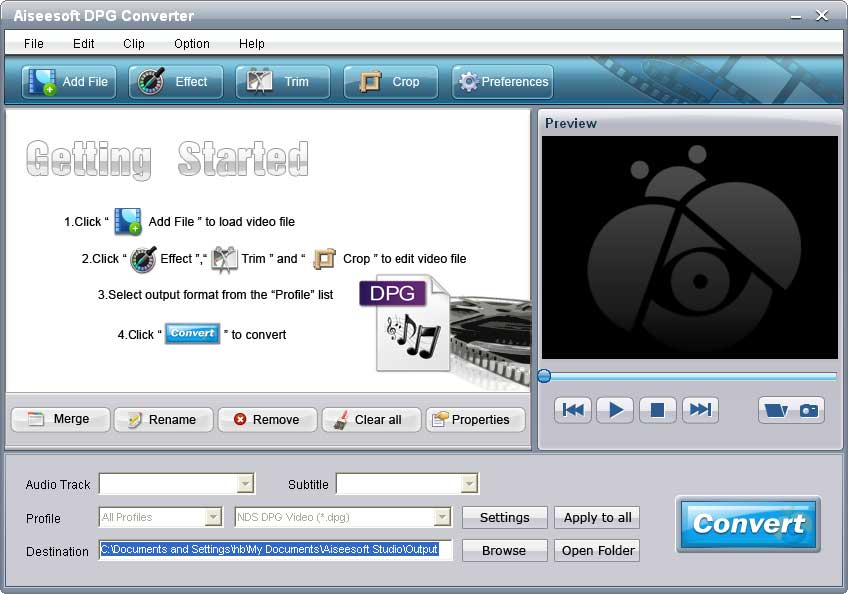 Aiseesoft DPG Converter software screenshot