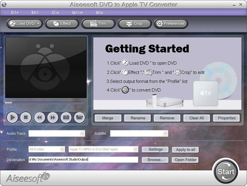 Click to view Aiseesoft DVD to Apple TV Converter screenshots