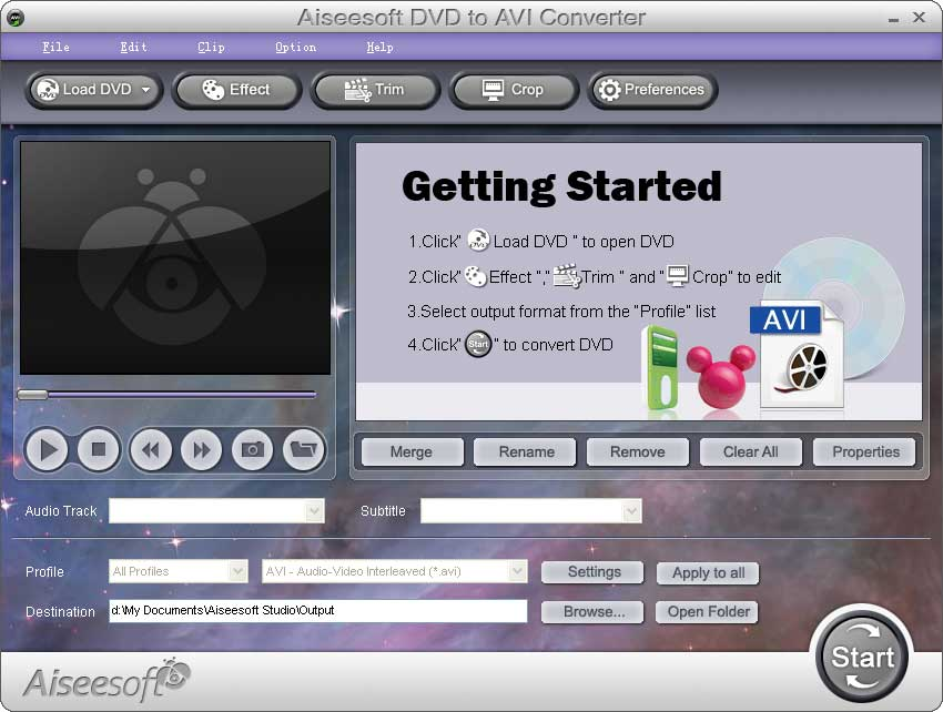 Aiseesoft DVD to AVI Converter screenshot
