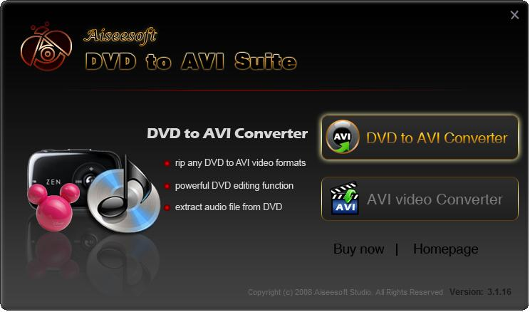 Aiseesoft DVD to AVI Suite Screen shot