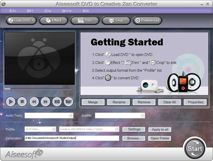 Aiseesoft DVD to Creative Zen Converter screenshot