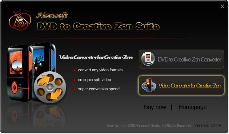 Aiseesoft DVD to Creative Zen Suite Screen shot