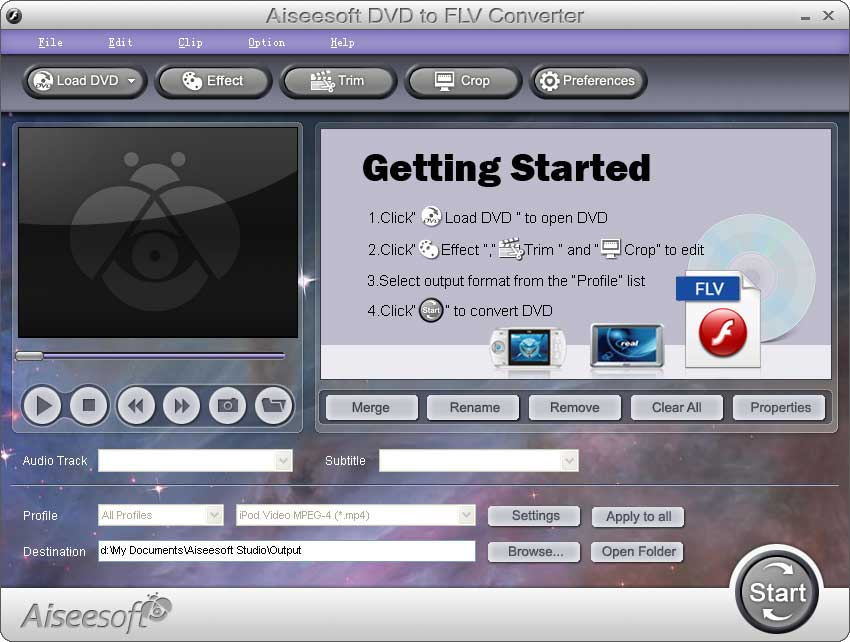 Click to view Aiseesoft DVD to FLV Converter screenshots