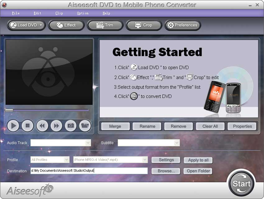 Click to view Aiseesoft DVD to Mobile Phone Converter screenshots