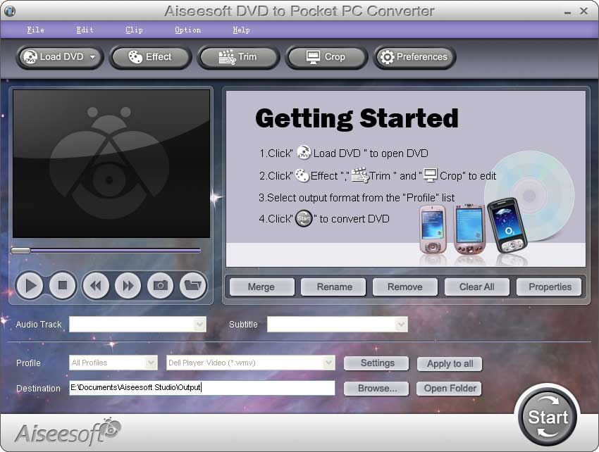 Aiseesoft DVD to Pocket PC  Converter screenshot