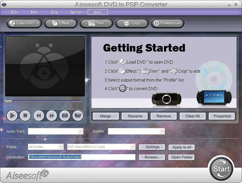 Click to View Full ScreenshotAiseesoft DVD to PSP Converter 4.0.16 screenshot