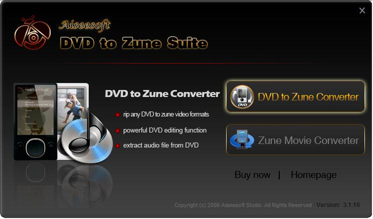 Aiseesoft DVD to Zune Suite Screen shot