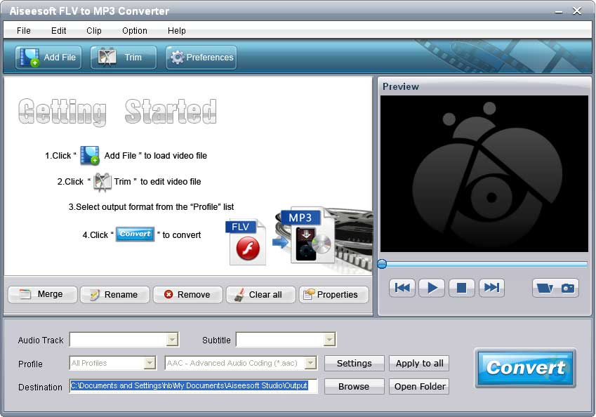 Click to view Aiseesoft FLV to MP3 Converter screenshots