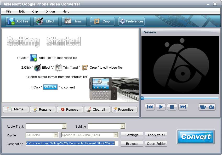 Click to view Aiseesoft Google Phone Video Converter 4.0.06 screenshot