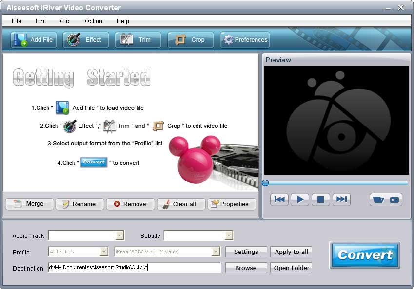 Click to view Aiseesoft iRiver Video Converter screenshots
