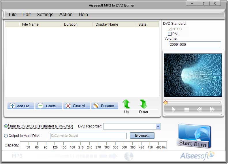 Aiseesoft MP3 to DVD Burner Screen shot