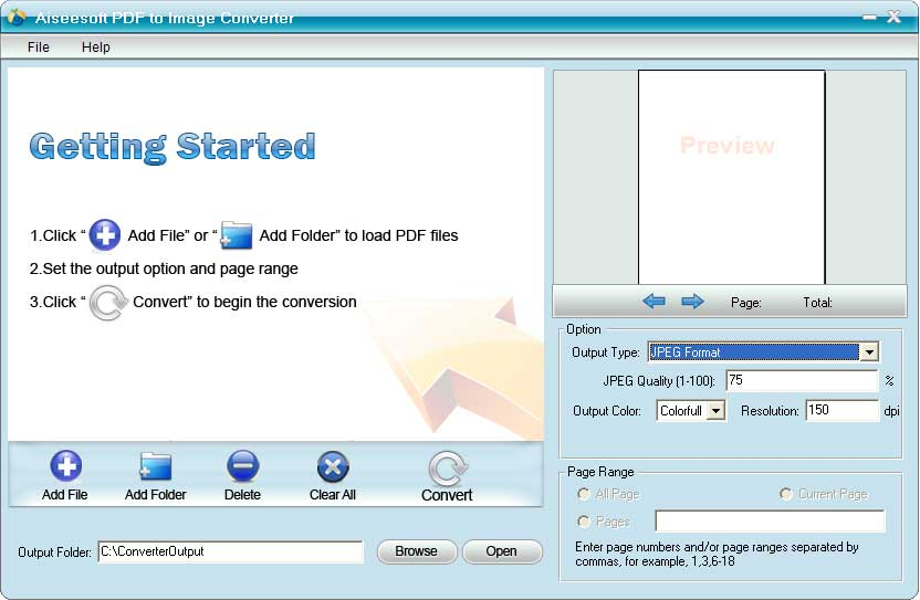 Aiseesoft PDF to Image Converter Screen shot