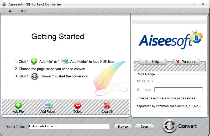 Click to view Aiseesoft PDF to Text Converter 2.0.10 screenshot