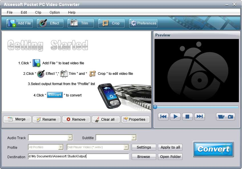 Aiseesoft Pocket PC Video Converter screenshot