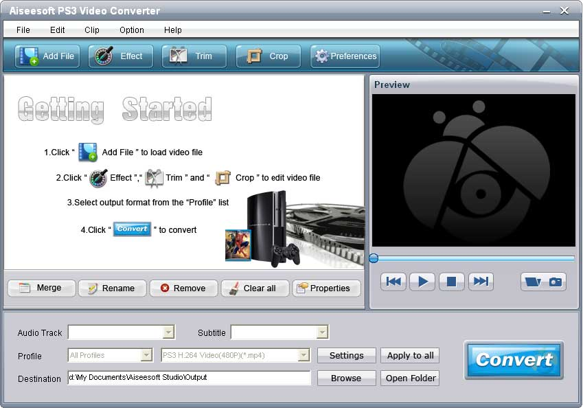 Aiseesoft PS3 Video Converter full screenshot