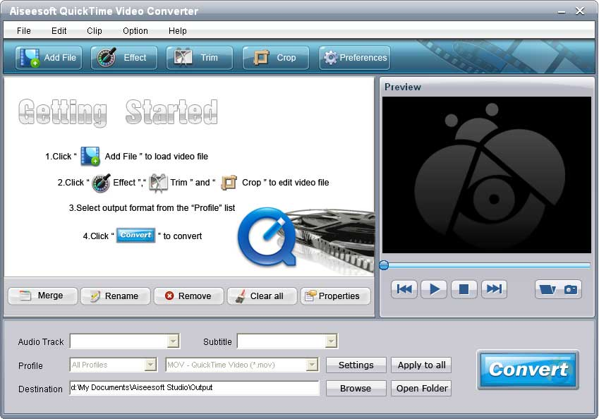 Click to view Aiseesoft QuickTime Video Converter 6.2.16 screenshot