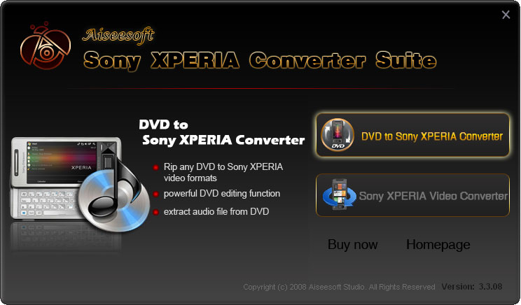 Screenshot of Aiseesoft Sony XPERIA Converter Suite 5.0.06
