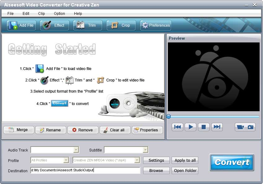 Convert all popular video and audio files to Creative Zen compatible formats.