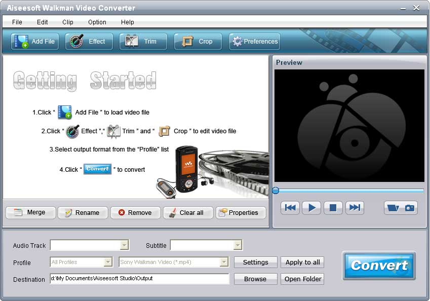 Click to view Aiseesoft Walkman Video Converter 6.2.16 screenshot