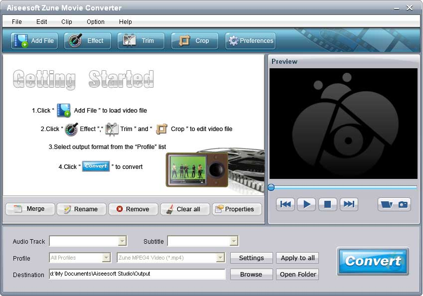 Click to view Aiseesoft Zune Movie Converter screenshots