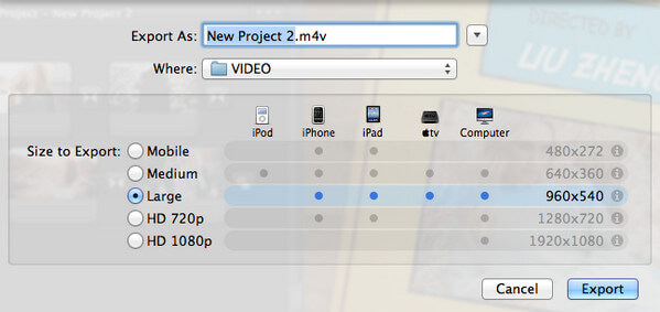 Export Slideshow from iMovie