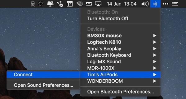 Collega AirPods al Mac