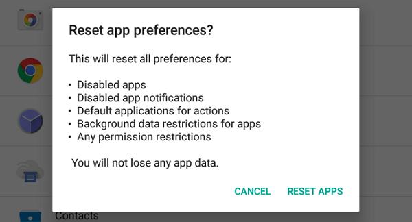 Reimposta preferenze app