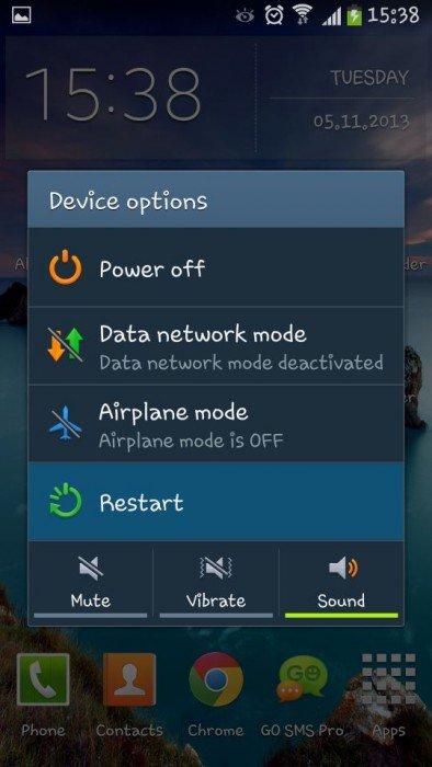 Riavvia il dispositivo Android