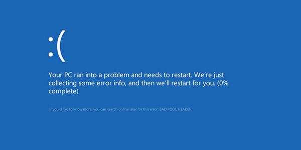 Windows dell'intestazione del pool non valido