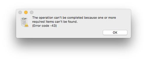 Codice errore -43 su Mac