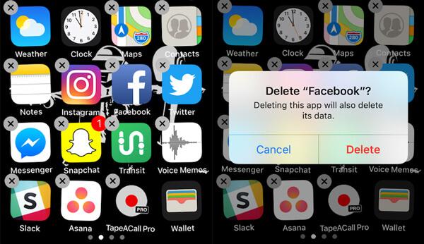 Disinstalla Facebook