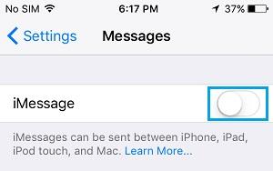 Schakel imessages uit op de iPhone
