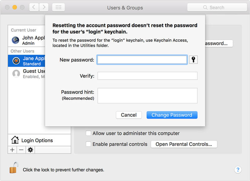 Reimposta password Mac con un altro account amministratore