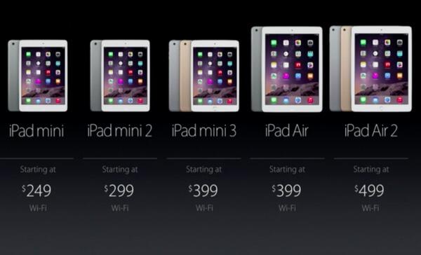 iPad mini VS iPad mini 2 VS iPad mini 3