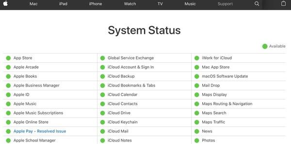 Ελέγξτε την κατάσταση iCloud