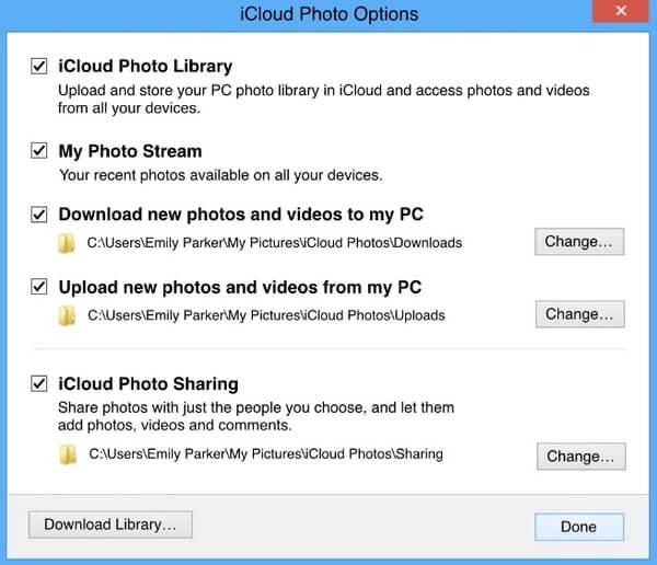 Ενεργοποίηση βιβλιοθήκης φωτογραφιών iCloud / Κοινή χρήση