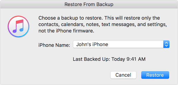 Ripristina da iTunes Backup