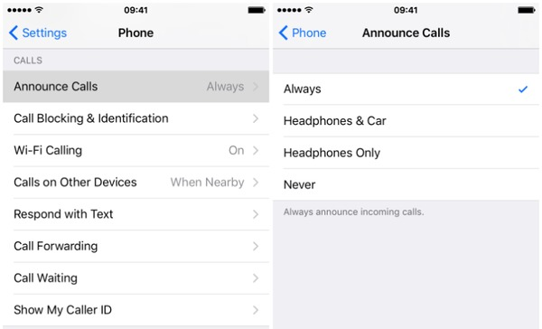 Set Always In Announce Calls iPhone