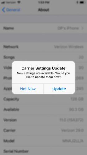 Le impostazioni del gestore aggiornano l'iPhone