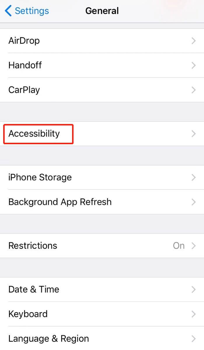 Tap accessibility