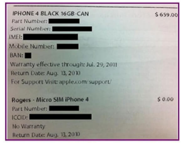 Βρείτε το Serial iPhone κατά την απόδειξη