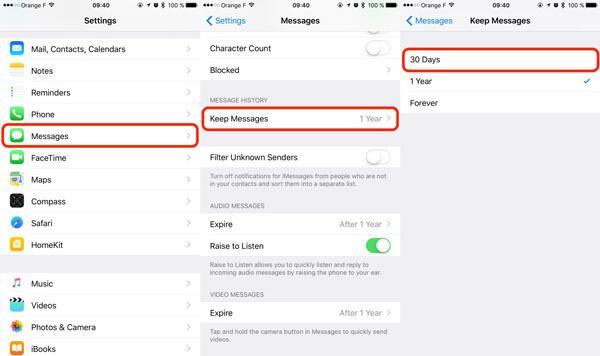 Διατήρηση μηνυμάτων iPhone