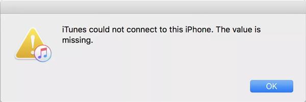 iTunes non è riuscito a connettersi a questo iPhone Il valore è mancante