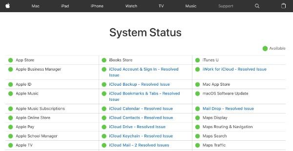 Ελέγξτε την κατάσταση του συστήματος Apple