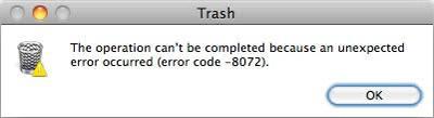 Код ошибки 8072 Mac