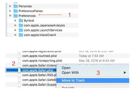 Usuń plik preferencji Safari