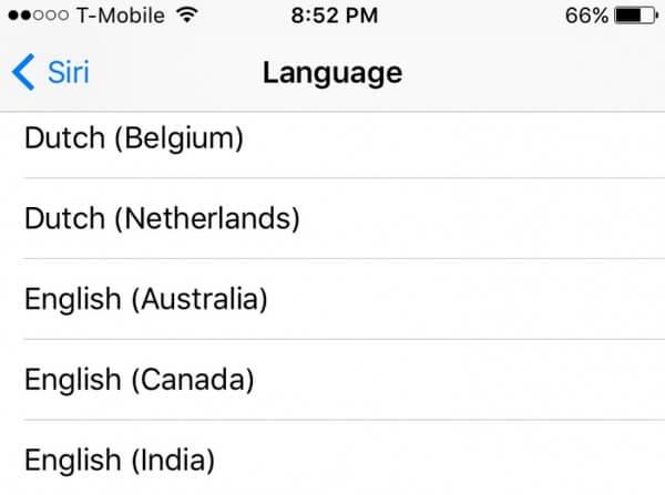 Αλλαγή γλώσσας siri