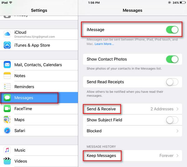 Abilita iMessage su iPad