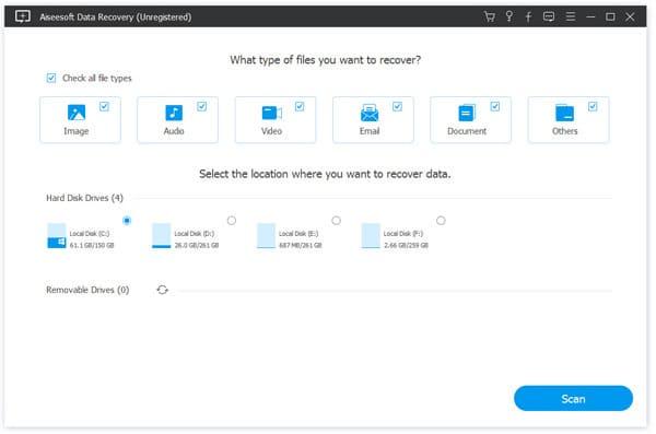 Aiseesoft Data Recovery για Windows-10-8-7